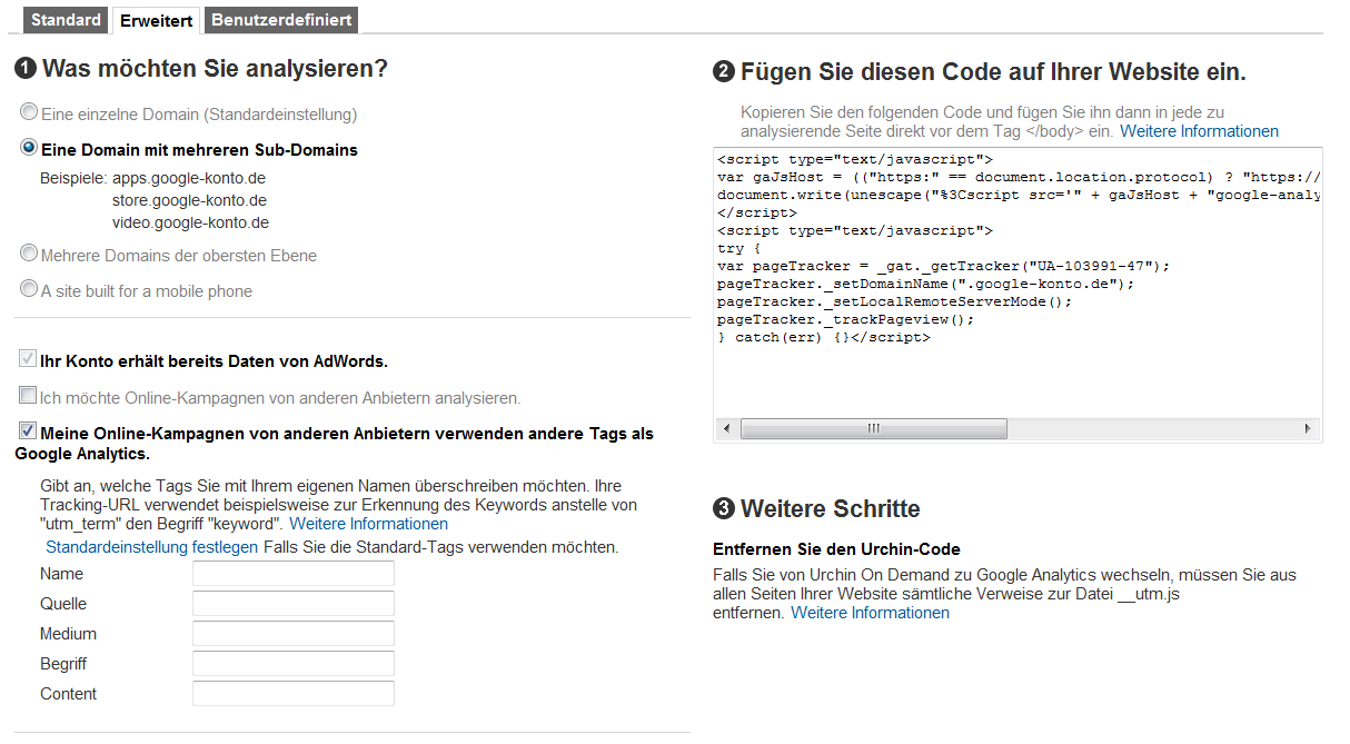 Google Analytics Tracking Code Setup-Assistent