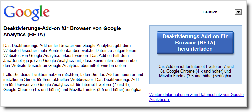 Download-Screen für Deaktivierungs-Add-on für Browser