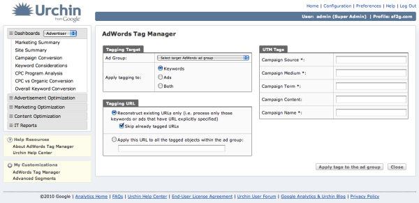 Urchin 7: Der Google AdWords Tag Manager