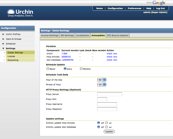 Urchin 7: Automatische Software Updates