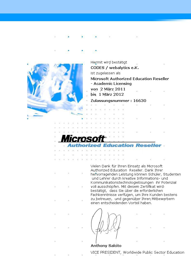 webalytics erneuert Status als Microsoft Authorized Education Reseller