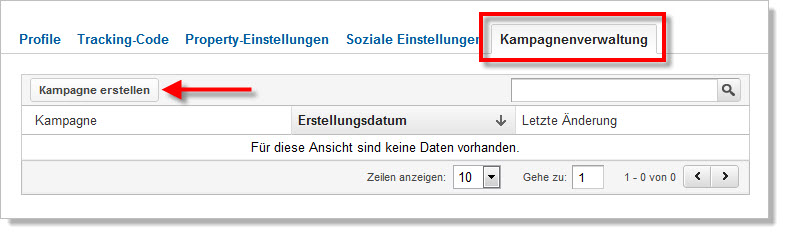 Kampagnenverwaltung in Google Analytics