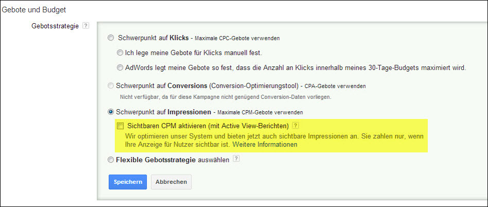 sichtbare CPM in AdWords