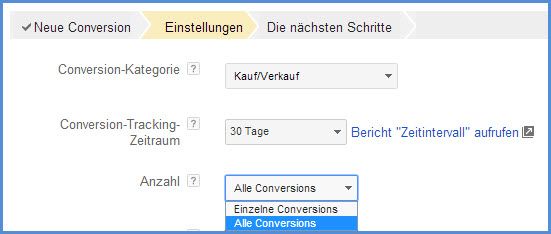 Conversion-Zähl-Optionen
