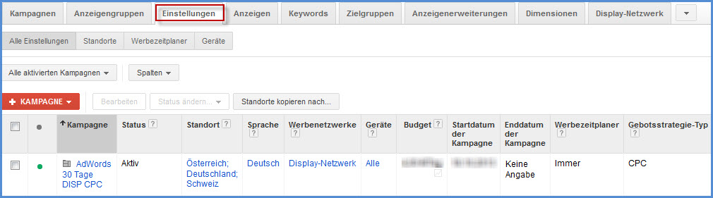 Kampagneneinstellungen in AdWords