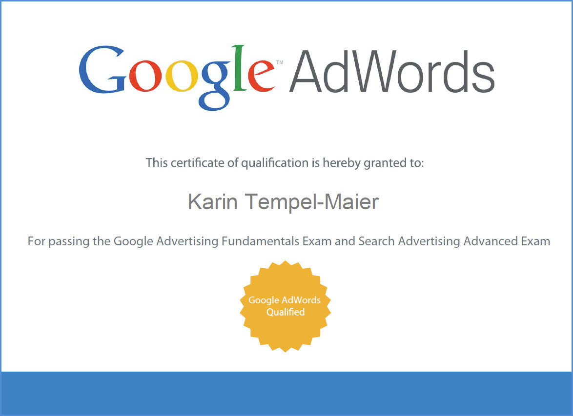 AdWords Zertifikat