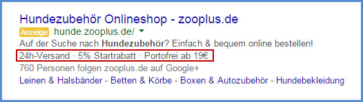 AdWords-Anzeige mit Callout Extensions
