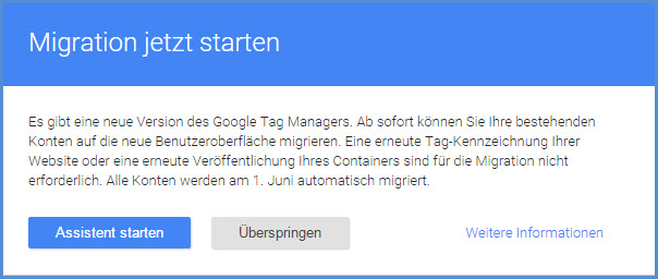 GTM Migrationsassistent Start
