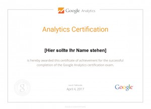 Google Analytic Individual Qualification Zertifikat