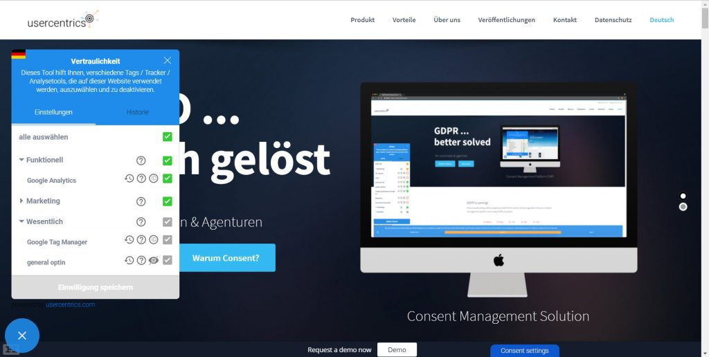 Consent Managment mit Usercentrics